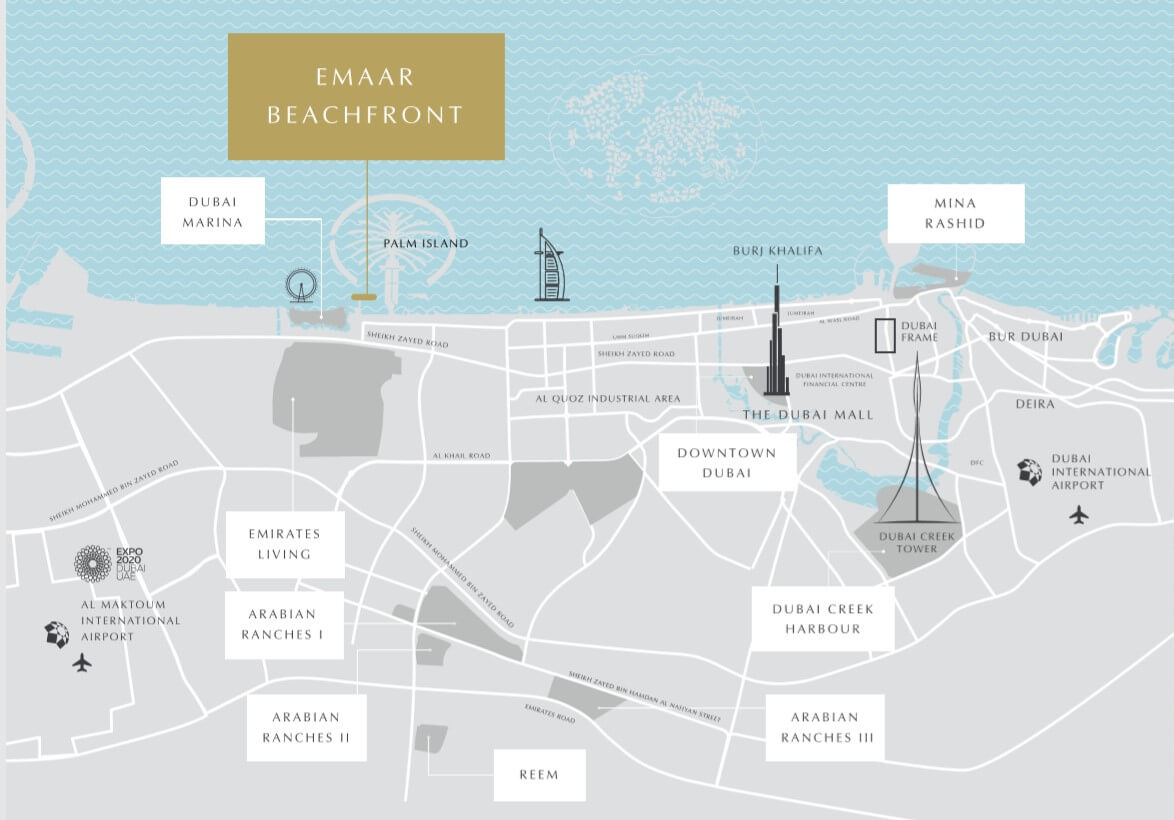 Emaar Beachfront South Beach Holiday Homes location map