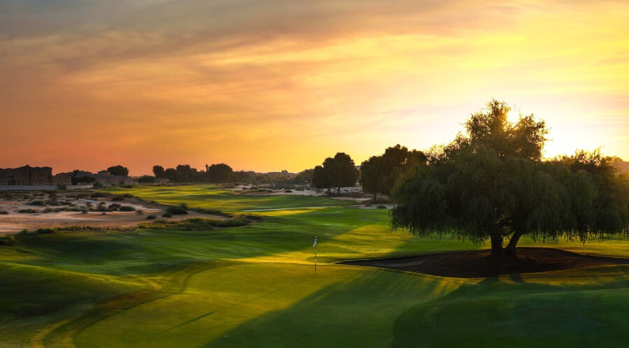 Sunset view of golf course in Arabian Ranches