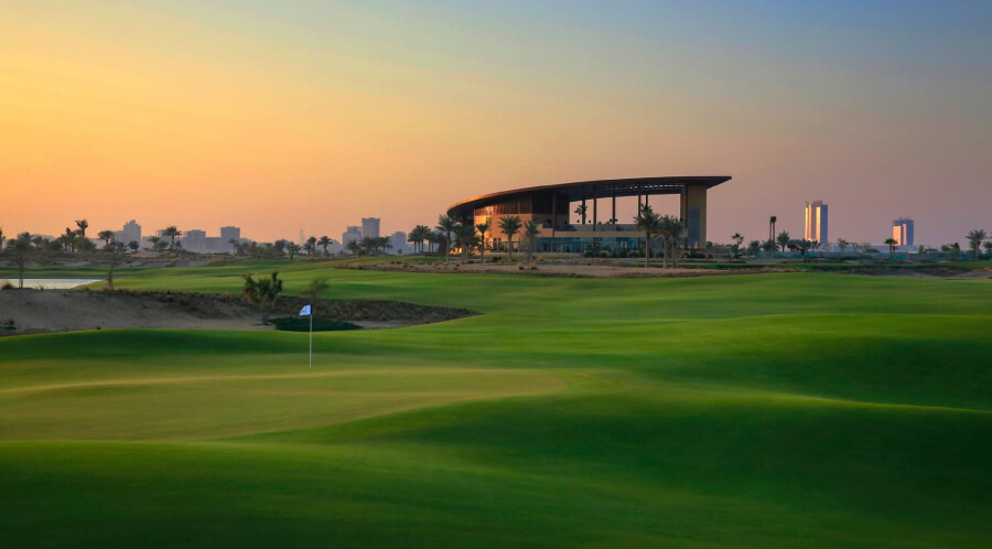 The striking views of the golf course in DAMAC Hills