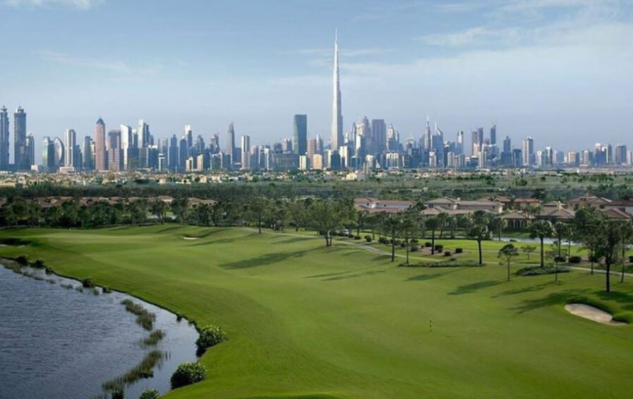An overview of the golf course in Dubai Hills Estate